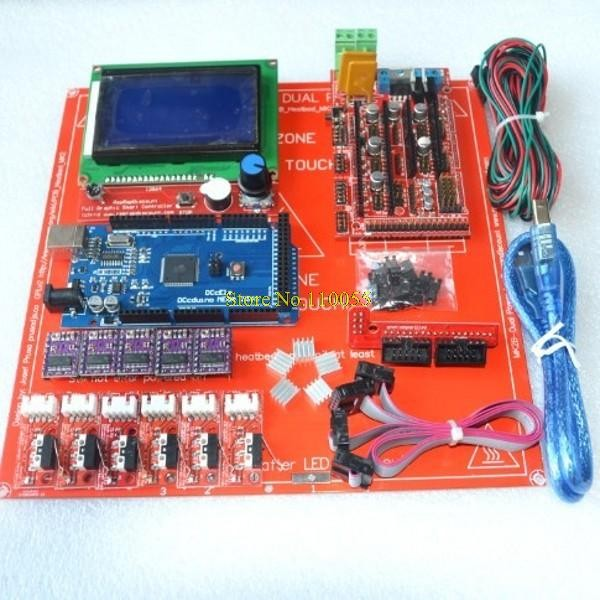 Reprap Ramps 1.4 Kit With Mega 2560 r3 ,Heatbed mk2b ,12864 LCD Controller , DRV8825 , Endstop , Cables For 3D Printer