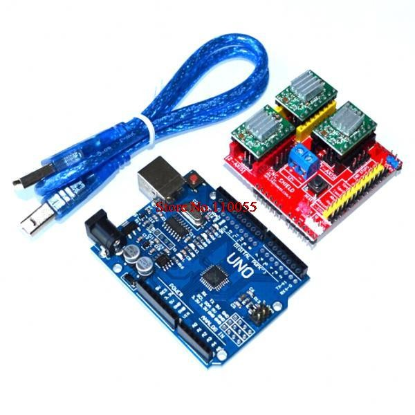 Cnc shield v2 engraving machine 3D Printer and 3pcs A4988 driver expansion board for Arduino and UNO R3 with USB cable