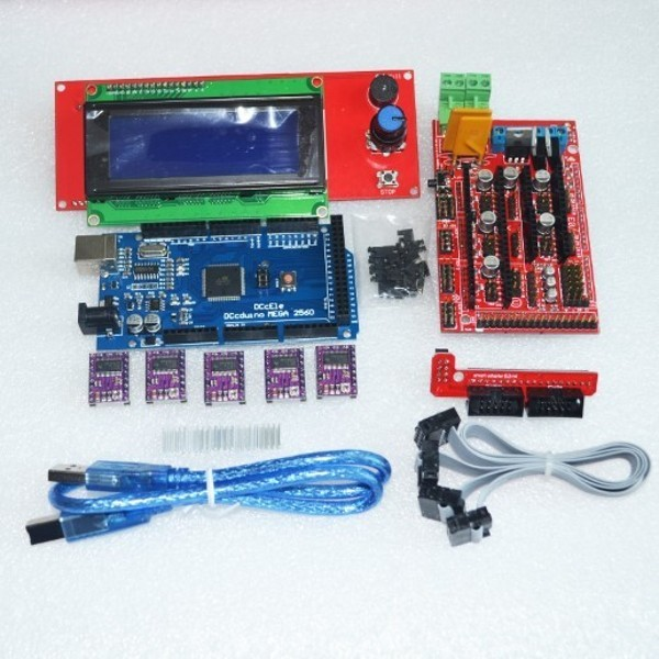 3D Printer kit 1pcs Mega 2560 R3 + 1pcs RAMPS 1.4 Controller+ 5pcs DRV8825 Stepper Motor Drive + 1pcs LCD 2004 controller