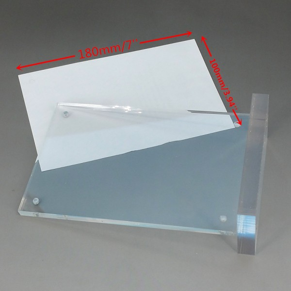 T Stands By Magnet Sucked On Desktop 4'x7' Clear Acrylic Sign Display Paper Card Label Holder Vertical