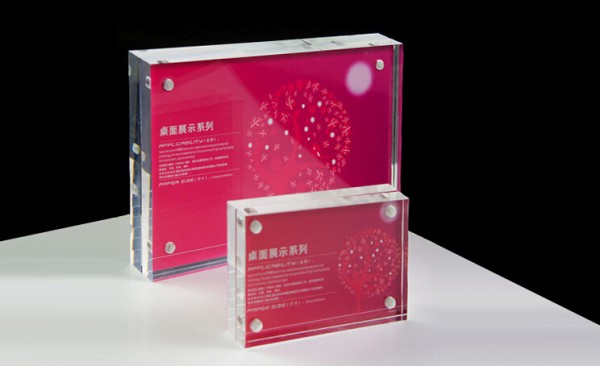 acrylic block countertop display stand frame 7 inchfor card / poster / sign perspex display
