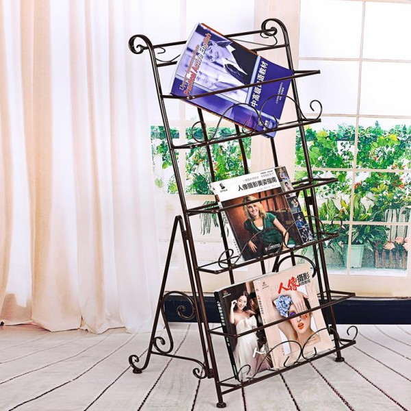 Shelf Wrought Iron Creative Advertising Display Shelves Magazine Rack Newspaper Stand