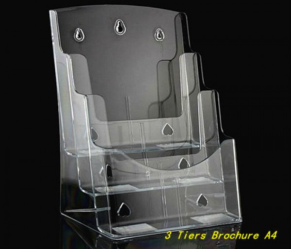 3 Tiers Plastic Acrylic Brochure Literature Pamphlet Display A4 Holder Racks Stand
