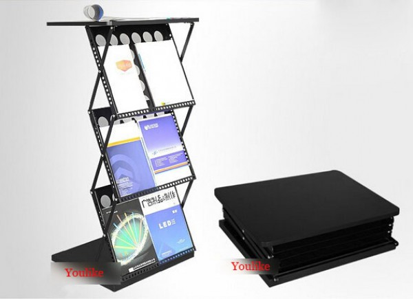 exhibition poster book paper brochure holder display showing rack stand Metal Folding data frame portable file catalog