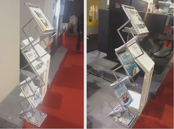 Literatures Display Holders Rack Stand By 6 Faces To Show Aluminum Folding Brochures Pamphlets Books
