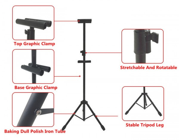 Display Telescopic Holder Poster Stand Surface Baking Dull Polish POP Metal Tripod Bedframe Hanging Banner Up