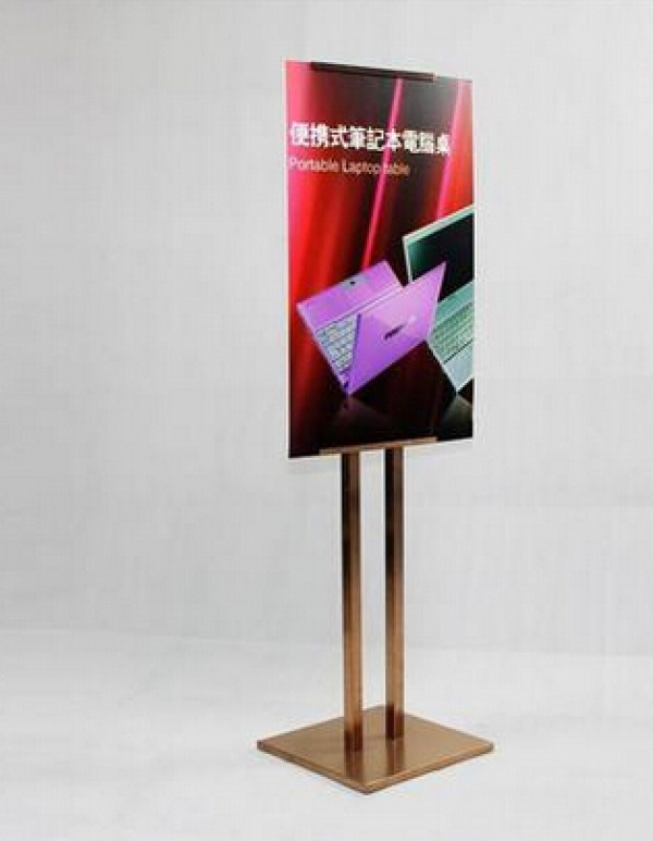 poster holder adjustable height Stainless steel poster frame advertising sign showing display rack stand