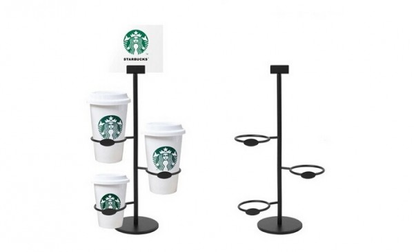 McDonald's Drinks Poster Display Stand Metal Glass Cup Display Holder Stainless steel metal Starbucks Coffee Cup Display Shelf