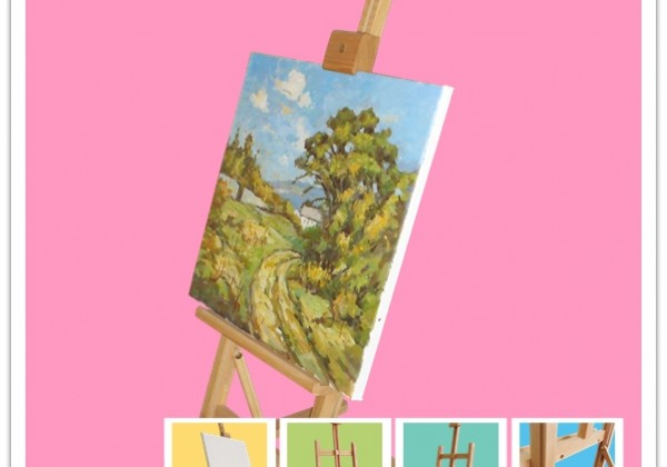wooden easel painting advertising display desktop compact folding